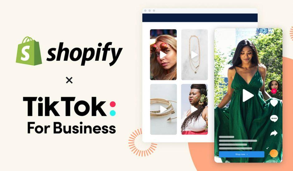Les logos TikTok et Shopify.