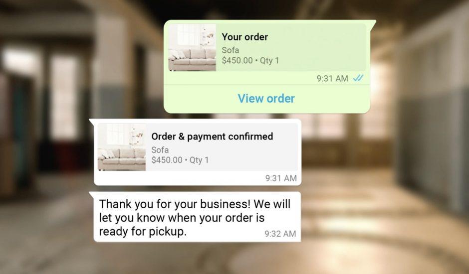 Aperçu d'une conversation entre un acheteur et une entreprise.
