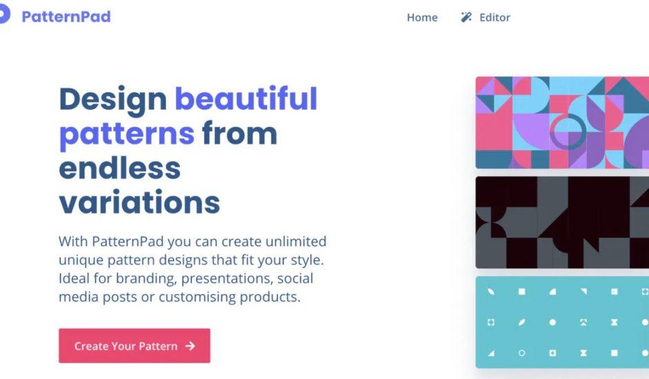 home page du site patternpad