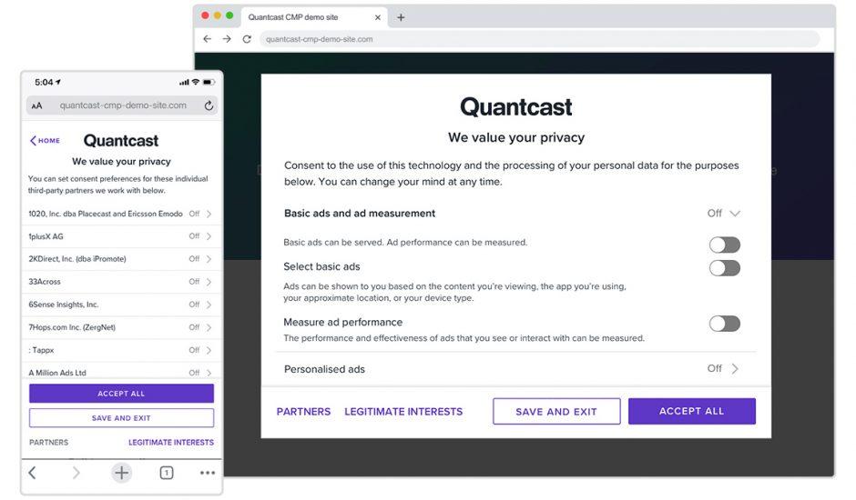 Quantcast et les divers réglages qu'il propose pour proposer de la publicité.