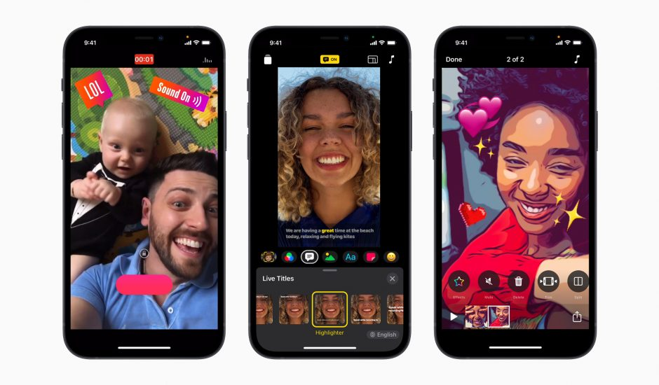 Des iPhone ouverts sur l'application Clips d'Apple.