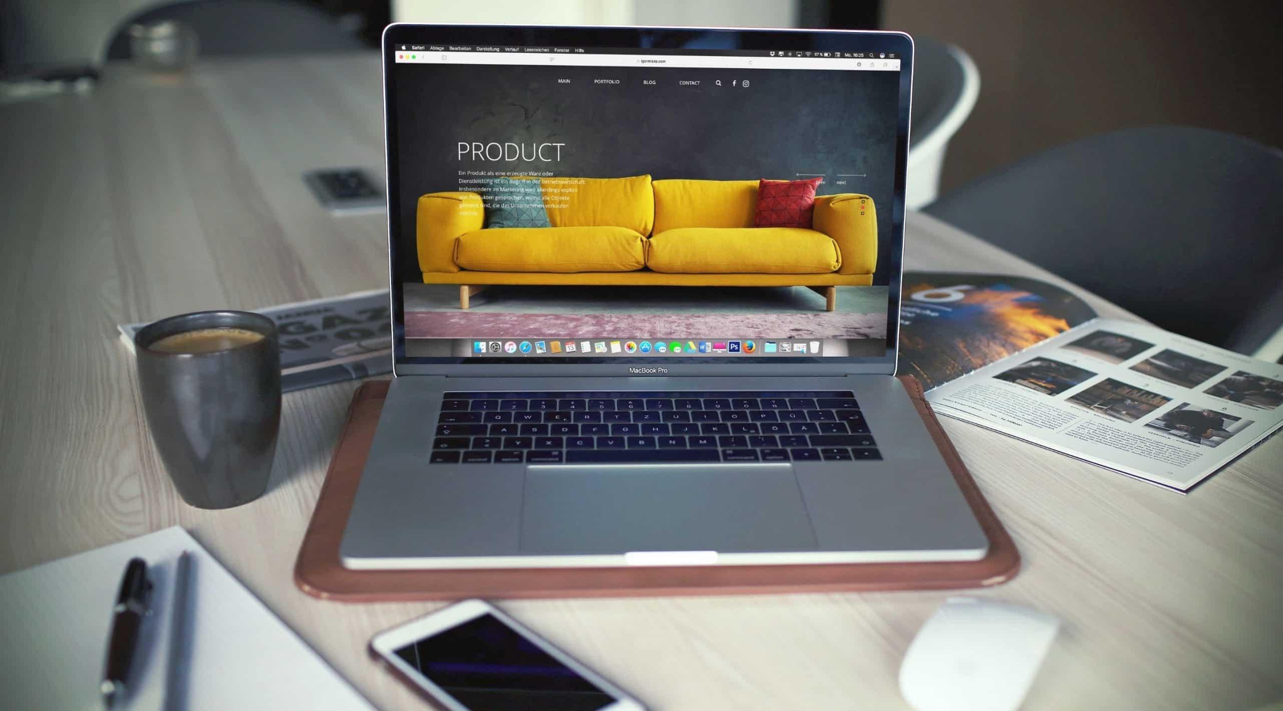 un écran avec une boutique en ligne