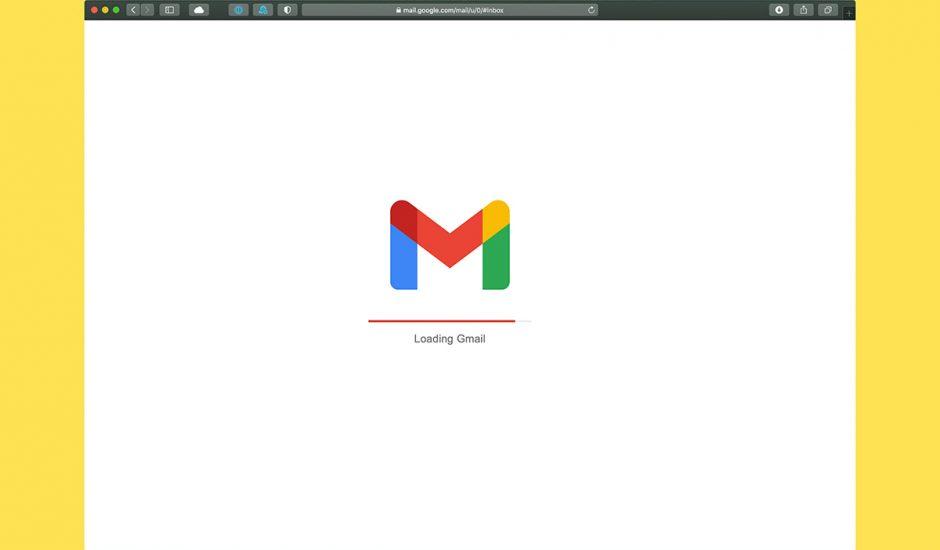 Interface web de Gmail sur Safari macOS.