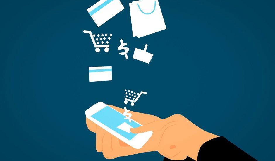 Schéma d'un homme tenant un smartphone pour faire des achats sur Internet.