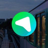 Un métro de la RATP avec le logo de Mappy juxtaposé sur l'image.