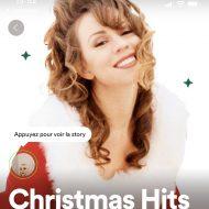 """Exemple de stories sur la playlist """"Christmas Hits"""" de Spotify."""