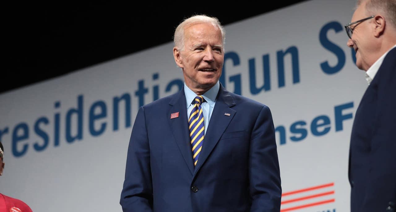 Portrait de Joe Biden lors d'un meeting.