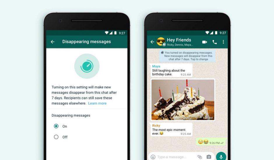 Capture d'écran de la fonctionnalité de messages éphémères sur WhatsApp.