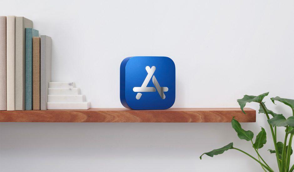 Le logo de l'App Store sur une étagère