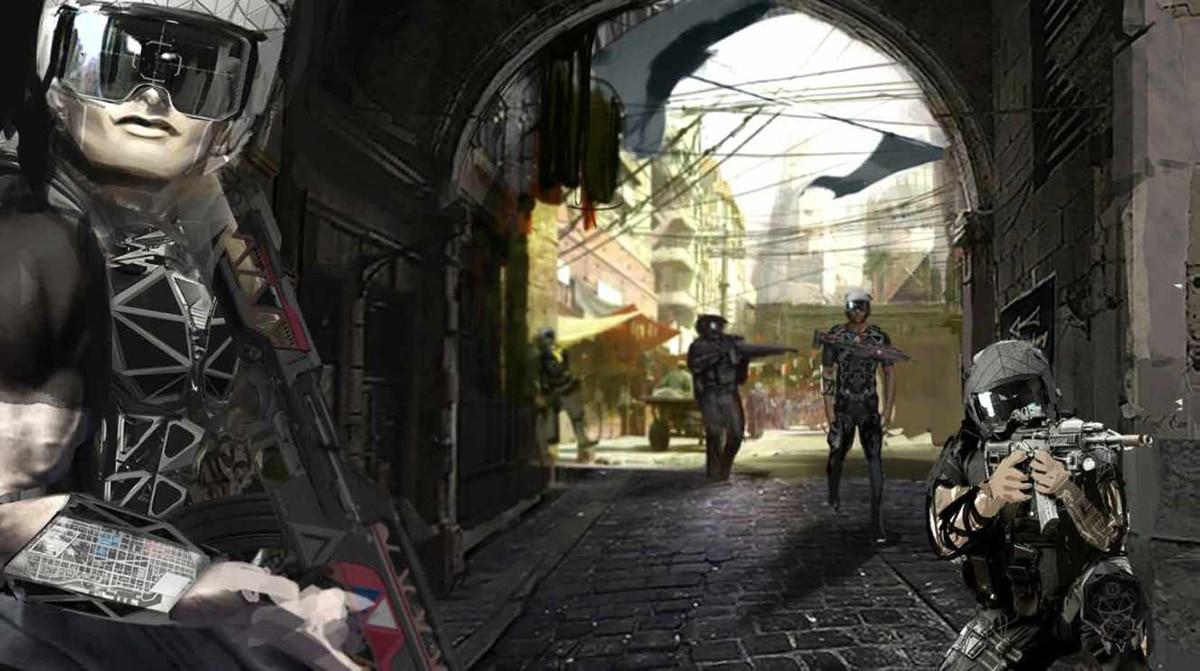 Projection du soldat du futur en 2040 avec des vêtements connectés, des protections et des interfaces homme/machine, imaginée par des étudiants en école de design Strate.