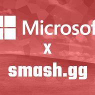 Les logos de Microsoft et de smash.gg sur un fond rouge.