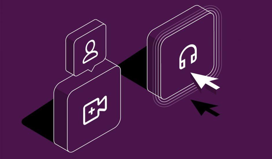Icônes aux couleurs de Slack symbolisant des conversations vidéo ou audio