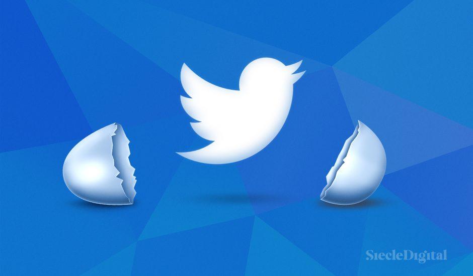Le logo de twitter sortant d'une coquille d'oeuf