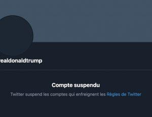 Capture d'écran du compte Twitter suspendu de Donald Trump.