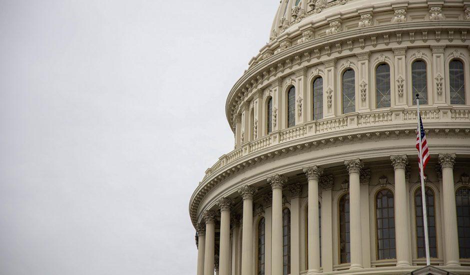 Vue rapprochée du Capitole américain.