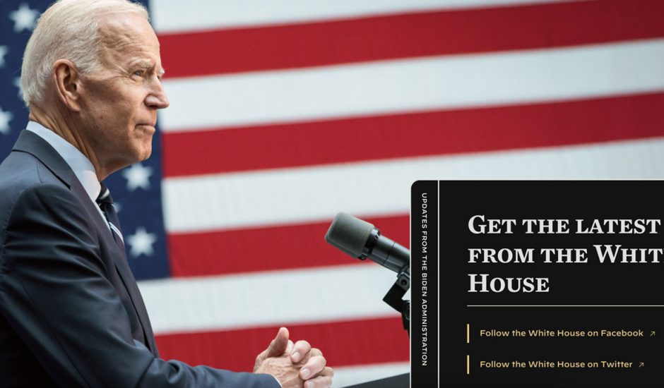 Une capture d'écran du nouveau site officiel de la Maison Blanche.