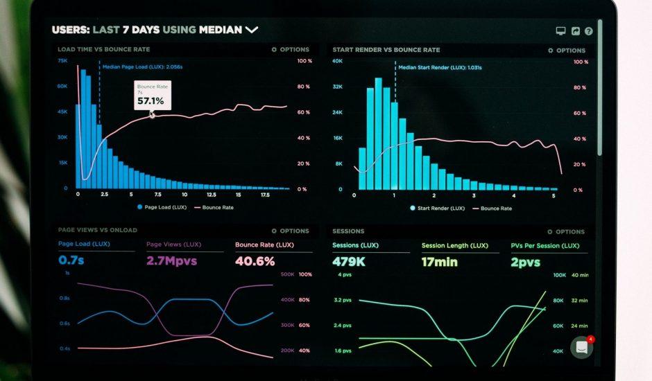 un dashboard noir avec des indicateurs