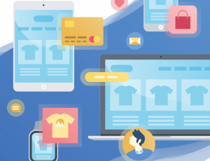 Illustration présentant divers éléments symbolisant le e-commerce