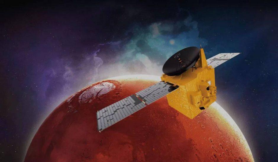 La sonde Hope en train d'orbiter autour de Mars.