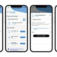 4 écrans présentant la recharge du pass Navigo sur un iPhone avec Apple Pay sur l'Assistant SNCF