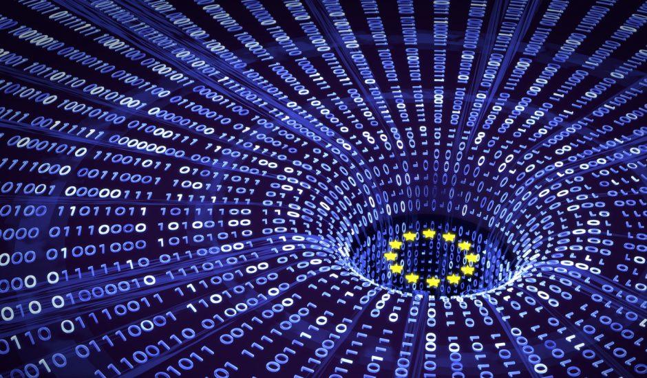 Une illustration des étoiles européennes avec des données symbolisées par des 0 et des 1