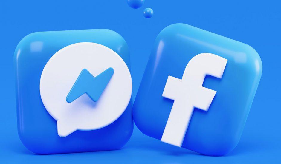 Les logos Facebook et Messenger en 3D.