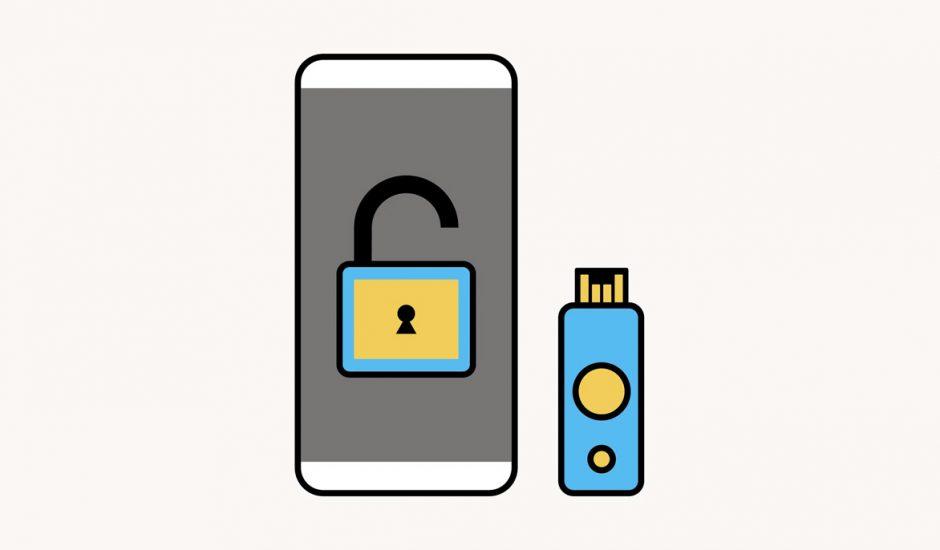 Une illustration représentant un smartphone et une clé de sécurité physique.