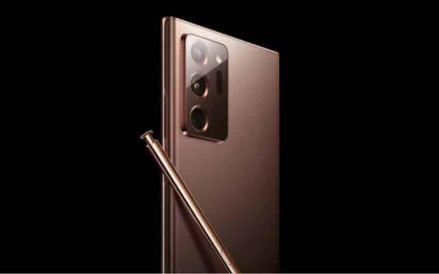 Image du dos d'un Samsung Galaxy Note 2020 avec son stylet