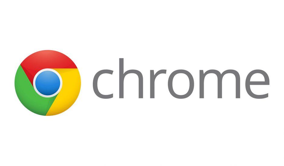 Le logo de Google Chrome sur un fond blanc.