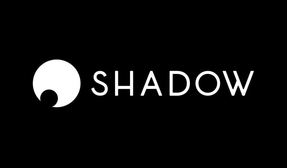 Le logo de Shadow sur un fond noir.