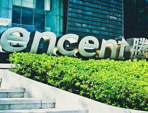 Photographie des bureaux de Tencent qui est visé par l'antitrust chinois.