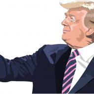 Dessin de Donald Trump avec le poing levé.