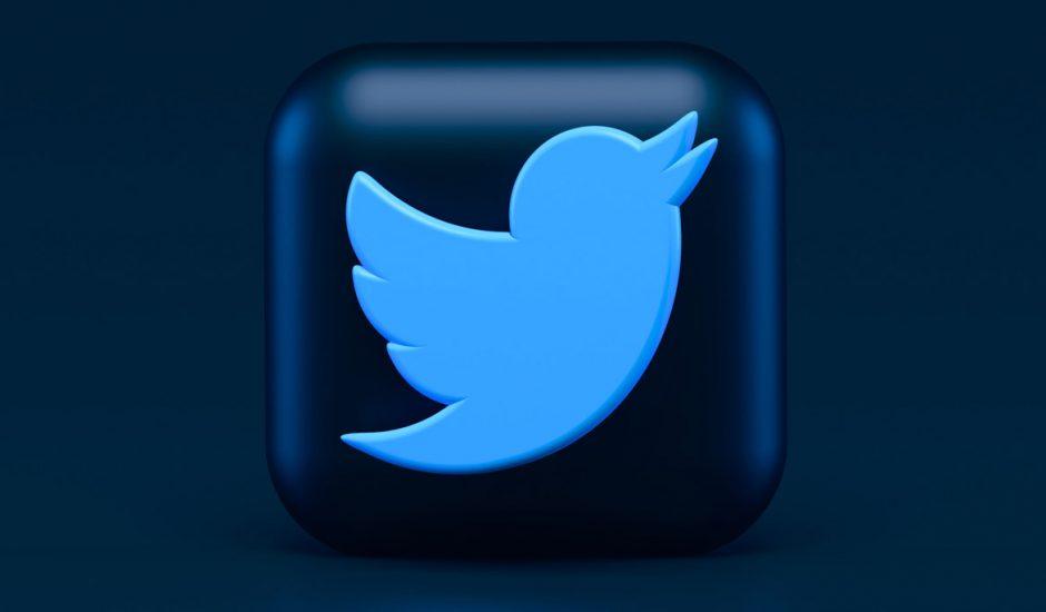 Le logo de Twitter en 3D.
