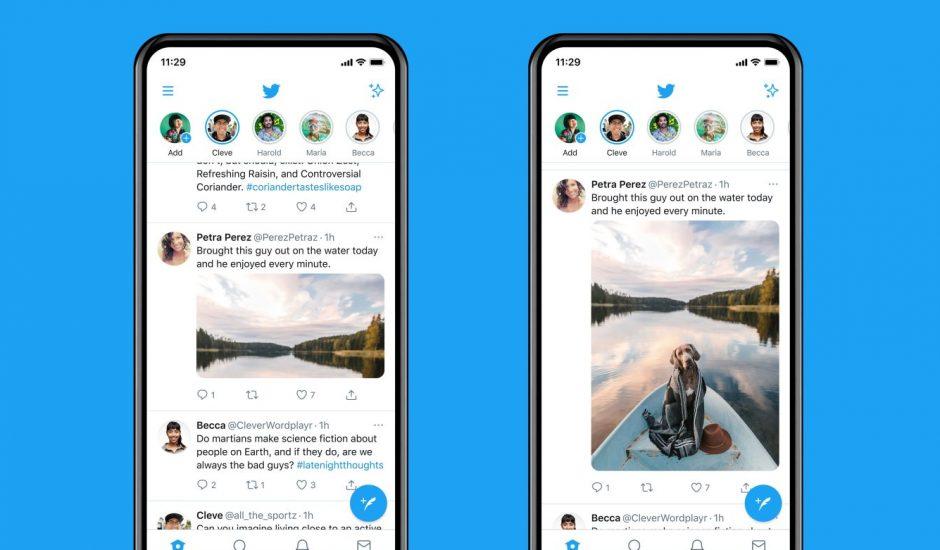 Vue d'écrans Twitter avant/après la fonctionnalité d'image en taille réelle.