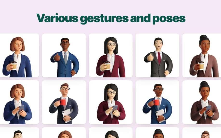 exemple de poses et d'illustrations
