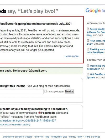 capture d'écran du site FeedBurner