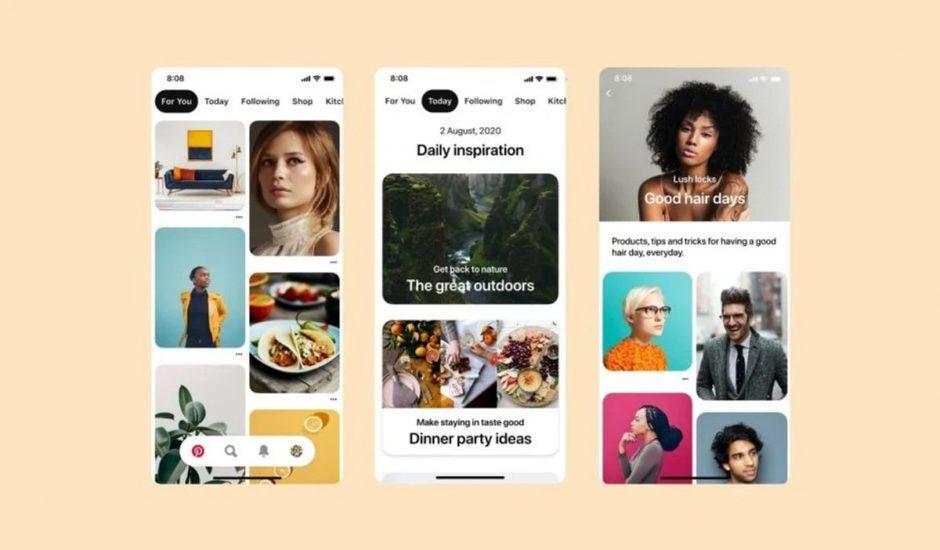 3 écrans mobiles présentant l'interface de Pinterest