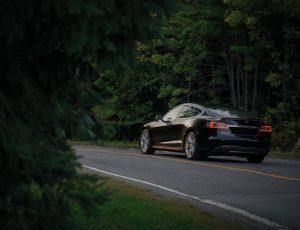 Un Model S de Tesla sur une route entourée d'arbres.