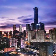 Les gratte-ciel de Pékin au crépuscule.