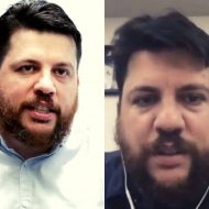 Comparaison du visage de Leonid Volkov dans une véritable photographie et lors d'un appel vidéo réalisé en deepfake.