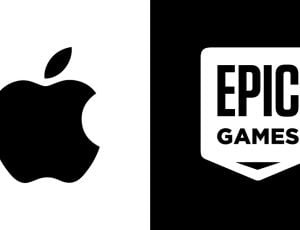 Les logos de Apple et d'Epic Games.