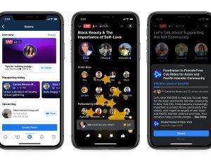 Ecrans de présentation de la nouvelle fonctionnalité Live Audio Rooms de Facebook