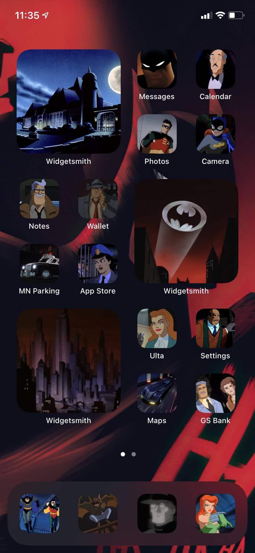 icônes iPhone personnalisées avec l'univers Batman