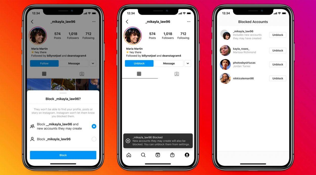 Captures d'écran de smartphones démontrant un nouvel outil d'Instagram pour lutter contre le cyberharcèlement.