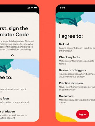 Aperçu du Code des Créateurs instauré par Pinterest.