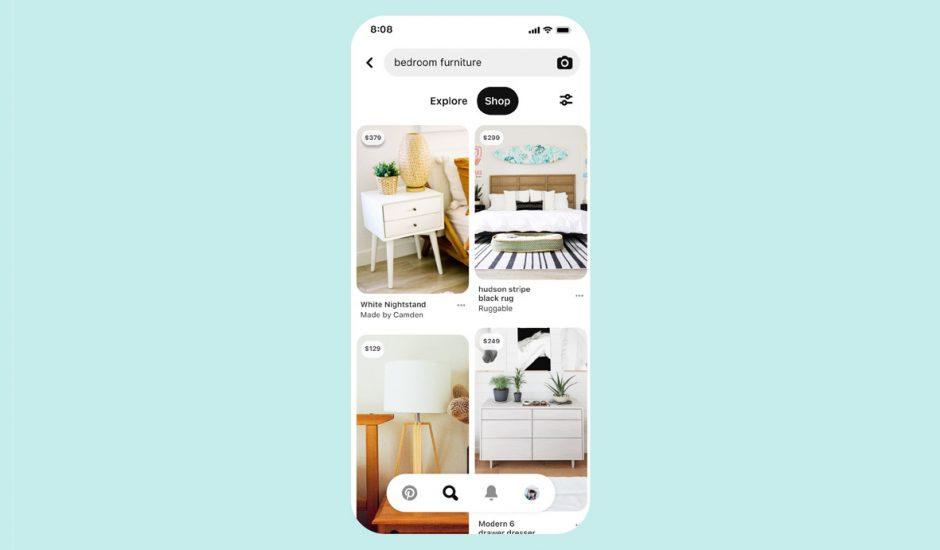 Image d'un écran Pinterest permettant d'acheter des produits