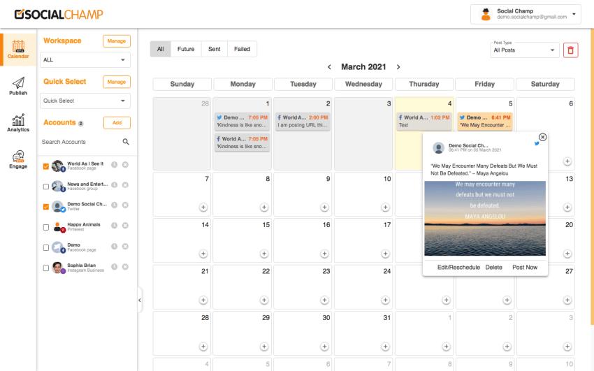 social champ calendrier de programmation