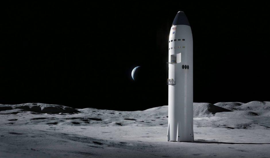 Starship à la surface de la Lune.