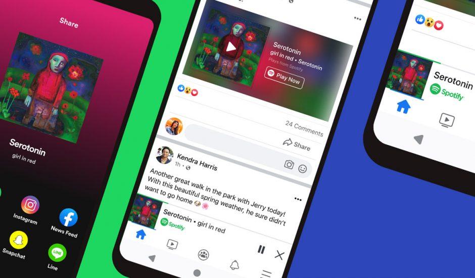 Des téléphones montrant l'intégration de Spotify dans Facebook.