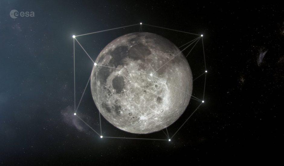 Représentation de la constellation de satellites Moonlight mis en place par l'ESA